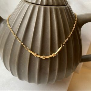 Curved Bar Pendant Chain Necklace Vintage